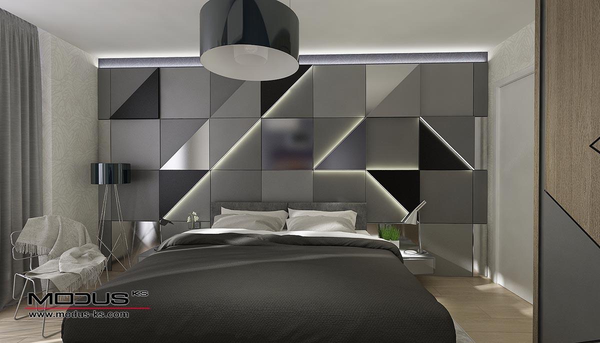 Интериорен проект на спалня КВАДРАТИ